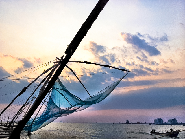 travel the world -  chinese fishing nets in fort cochin kerala