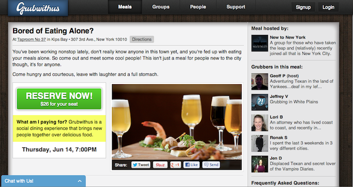 Grubwithus Social Network - Make friends over a prix fixe meal