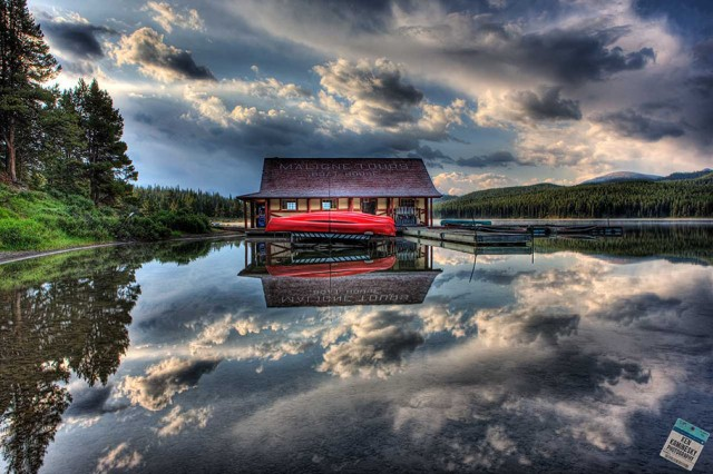 Ken Kaminesky - Maligne Lake boathouse in Jasper National Park, Alberta, Canada