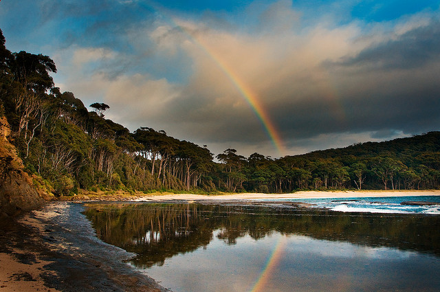 Double rainbow in raw australian landscape