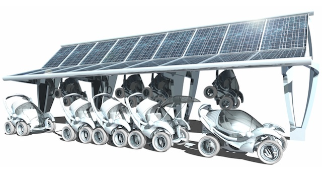 Urban Stackable Car with Solar Recharge Port.