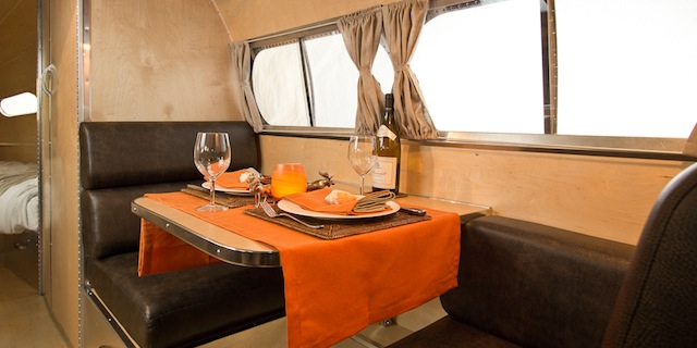 Bowlus Dining Area This New Futuristic Travel Trailer is Like Having Your Own Luxury Hotel on Wheels