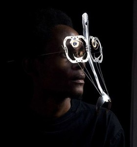 Cyrus Kabiru wearing one of the bifocals from his C-STUNNERS collection.