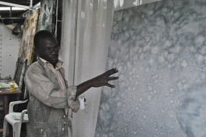 Paul Onditi in his studio at Kuona Trust, Nairobi