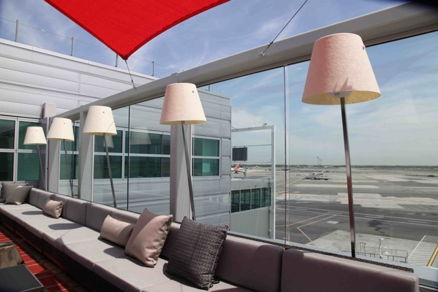 Rooftop terrace with a runway view the delta sky deck at jfk for Terrace in a sentence