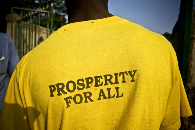 Prosperity T-Shirt Distributed for President Museveni Campaign, in Buikwe District, Central Uganda