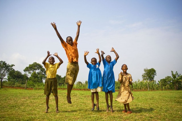 Students Play During Recess in Buikwe District, Central Uganda