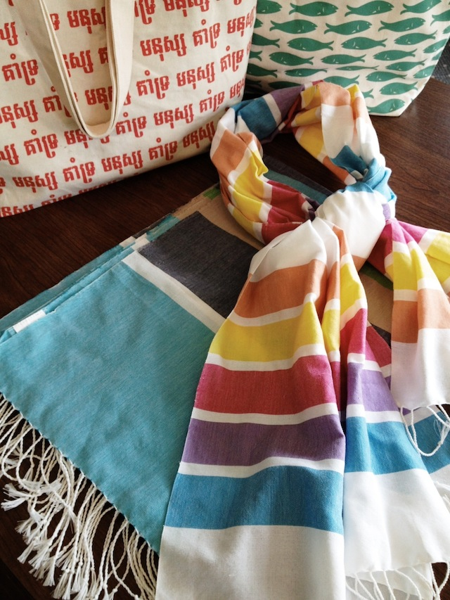 VillageWorks tote bags and scarves Cambodia Fair Trade from the Four Corners of the World