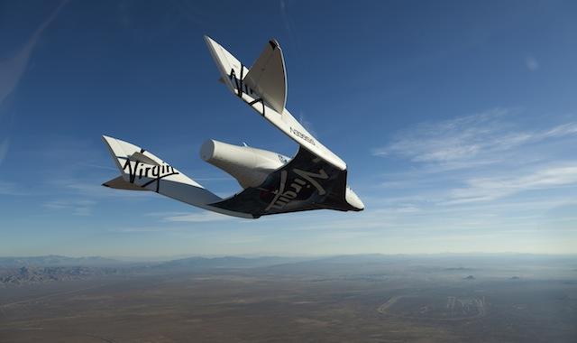 Virgin's spaceshiptwo-in-its-glide-flight